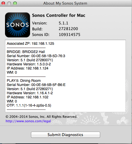 'About my Sonos System' screen
