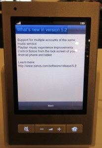 Sonos CR200 update screen