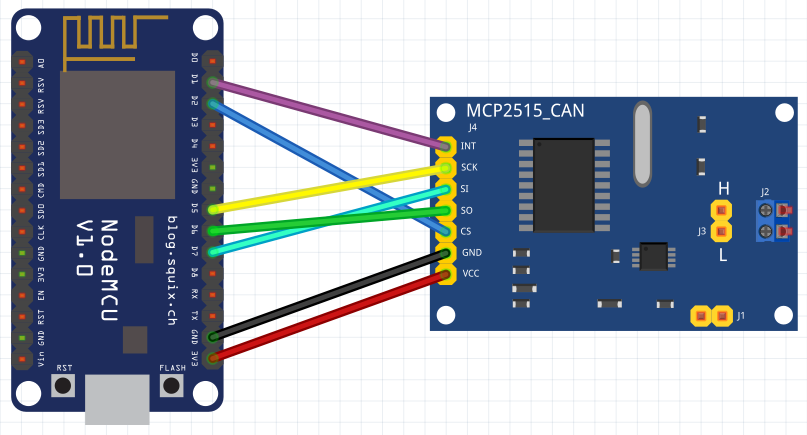 NodeMCU to MCP2515_CAN module